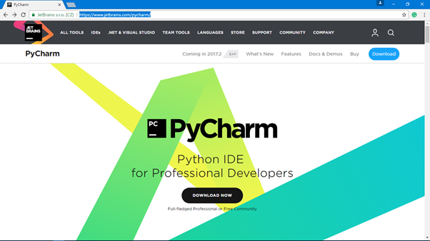 Go To https://www.jetbrains.com/pycharm/ website